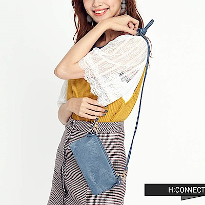 H:CONNECT 韓國品牌 質感皮革收納包-藍