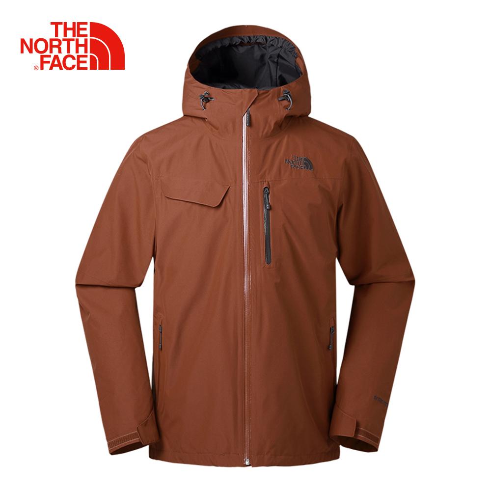 The North Face北面男款咖啡色防水透氣防風外套