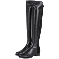 Stuart Weitzman 5050 小羊皮革拼接過膝長靴(黑色)