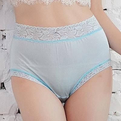 內褲 粉嫩色調100%蠶絲中高腰三角內褲 (藍) Chlansilk 闕蘭絹