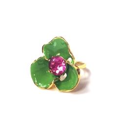 Kenneth Jay Lane 好萊塢巨星最愛 花朵戒指 嫩綠色 鑲粉紅水晶  附原廠盒