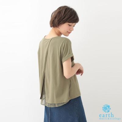 earth music 後開衩拼接蕾絲口袋短袖上衣/T恤