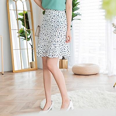 清新滿版印花雪紡魚尾短裙-OB大尺碼