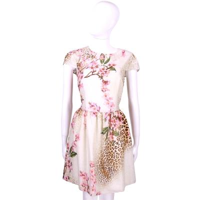 BLUGIRL 米色豹紋花朵圖印短袖洋裝