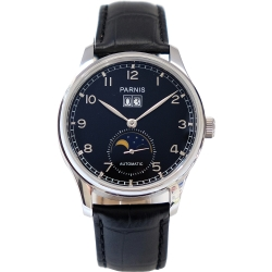 PARNIS月相顯示 日期 自動後底蓋鏤空機械錶 PA3085 / 42mm