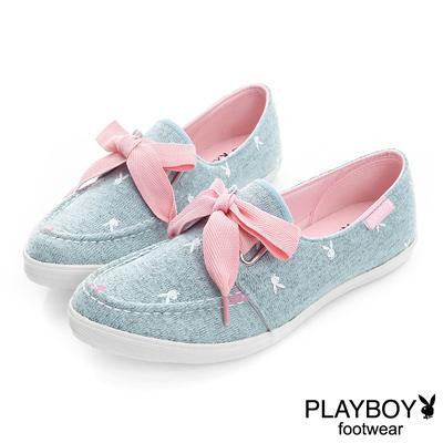 PLAYBOY-休閒活力-毛呢微尖楦頭休閒鞋-藍-女