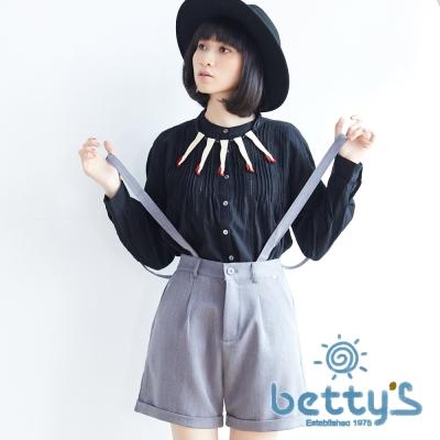betty's貝蒂思 俏皮吊帶西裝短褲(灰色)