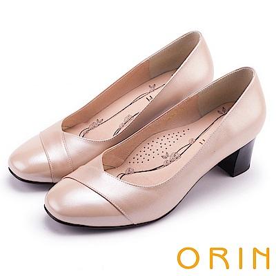 ORIN 典雅氣質 造型剪裁牛皮百搭粗中跟鞋-粉膚