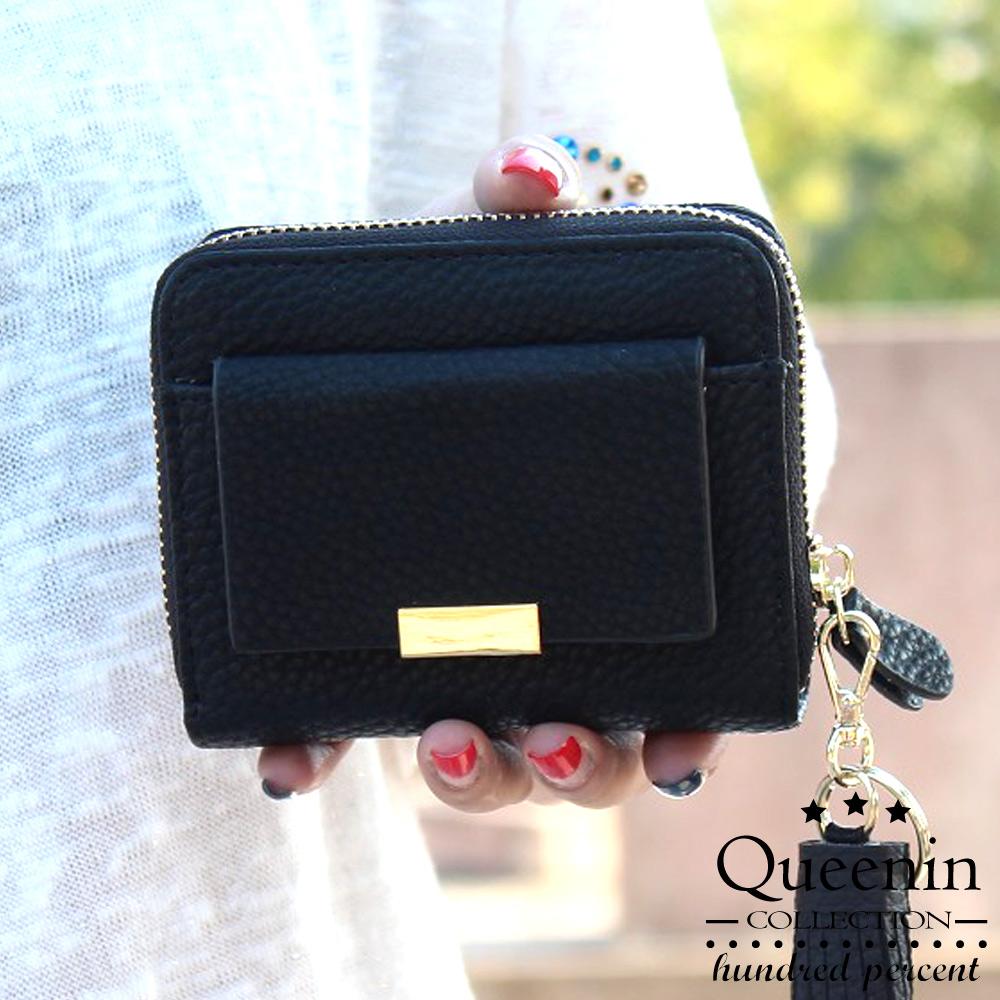 DF Queenin皮夾 - 安娜流蘇款多功能仿皮短夾-共2色