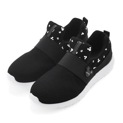 DISNEY 率性風格 米奇彈性繃帶休閒鞋-黑(女)