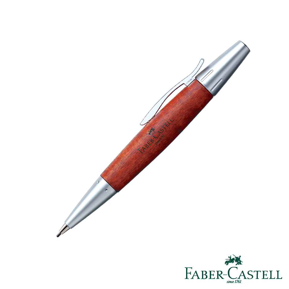 Faber-Castell E-MOTION-高雅梨木系列旋轉鉛筆 (銀霧面)