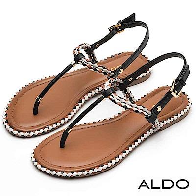 ALDO 雙色麻花編織T字金屬釦帶拉帶式夾腳涼鞋~尊爵黑色