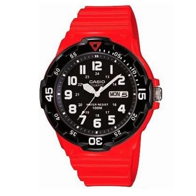 CASIO 潛水風DIVER LOOK指針錶(MRW-200HC-4B)-黑x紅/45mm