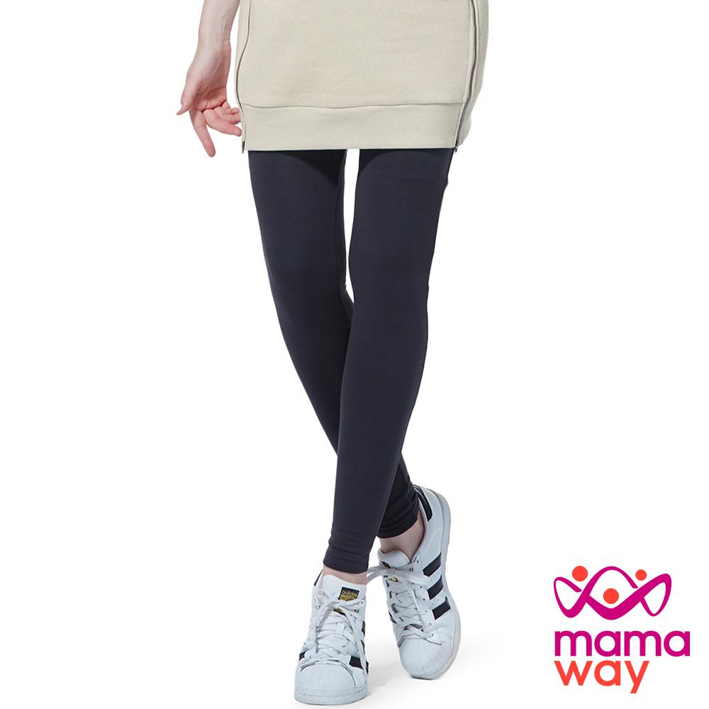 孕婦褲 內搭褲 貼腿褲 孕期柔軟厚刷毛貼腿褲(共二色) Mamaway