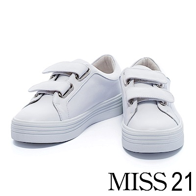 休閒鞋 MISS 21 時尚簡約魔鬼氈牛皮厚底休閒鞋 – 白