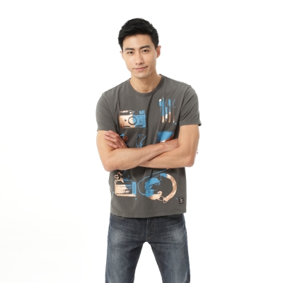 Lee 印花短袖T恤 -男款-灰