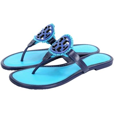 TORY BURCH MILLER 簍空雙T飾流蘇涼鞋(藍色)