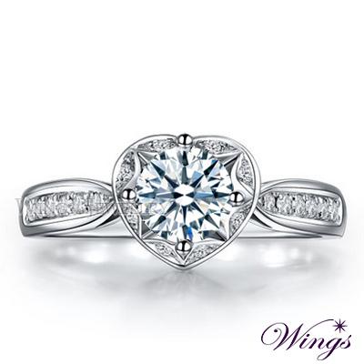 Wings 依戀 經典環鑽心型設計款 八心八箭精鍍白金戒指