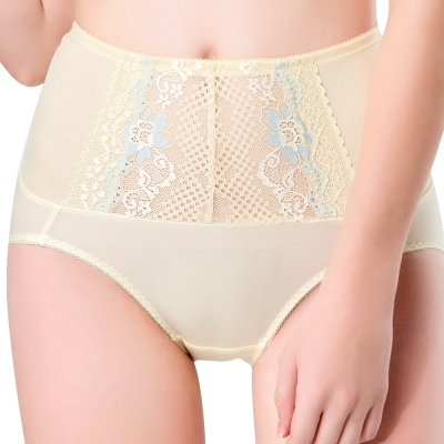 思薇爾 柔挺美學系列M-XXL蕾絲高腰三角修飾褲(茴香黃)