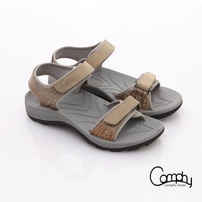 Comphy 隨手拖系列 全真皮可調整自黏帶涼拖鞋 卡其色