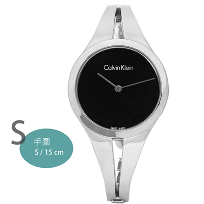 CK Addict 癮誘系列鏤空透光手環式不鏽鋼手錶-黑色/31mm