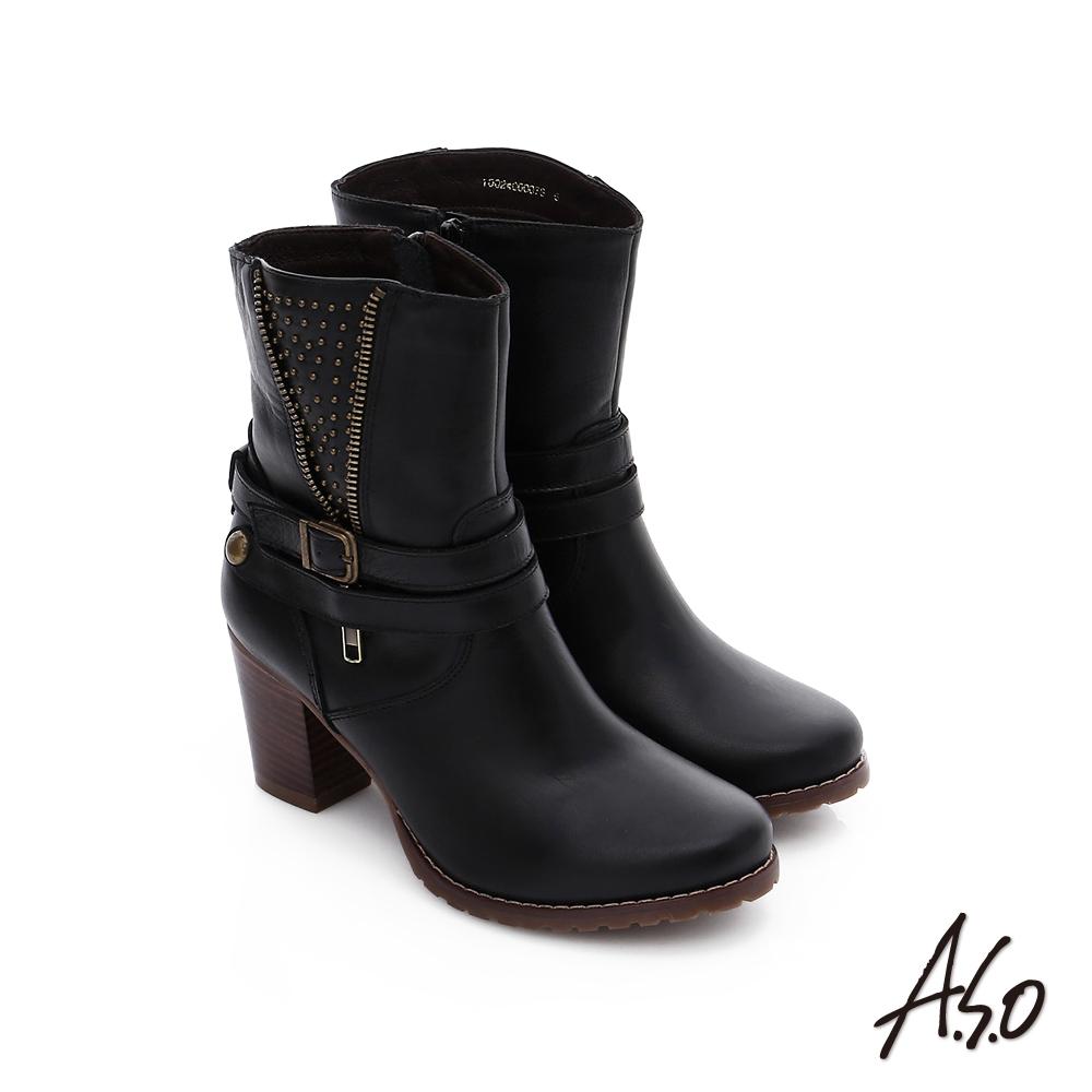 A.S.O 保暖靴 鉚釘拉鍊釦飾粗跟短靴 黑色