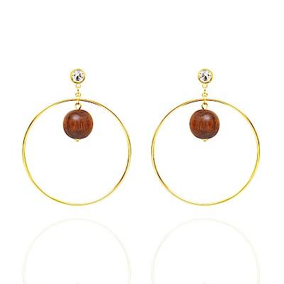 微醺禮物 耳環 鋼針 鍍K金 木頭 球 金色大圈圈 耳針