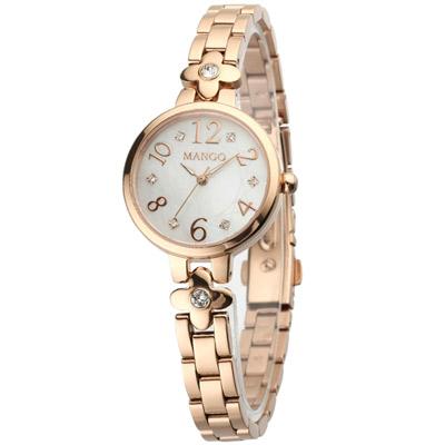 MANGO 典雅純淨不鏽鋼時尚腕錶-白x玫瑰金/28mm