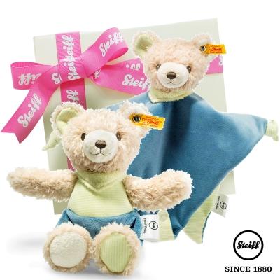 STEIFF德國金耳釦泰迪熊 - 玩偶+安撫巾 探險熊 (寶寶禮盒)