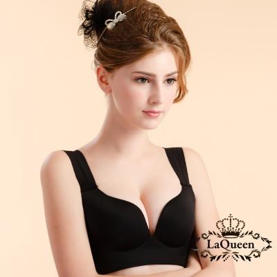 內衣  素面機能排汗無痕成套內衣-黑  La Queen