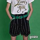 gozo 蝴蝶結綁帶條紋膝上短褲(二色)