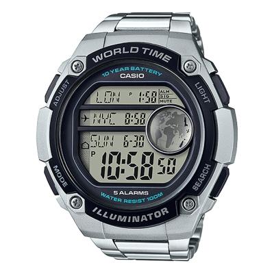CASIO 球狀大錶面設計潮流運動數位錶(AE-3000WD-1)不銹鋼帶/55.5mm