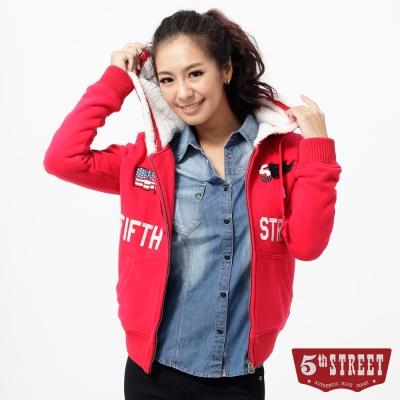 5th STREET 連帽外套 繡花內舖毛針織外套-女-紅色