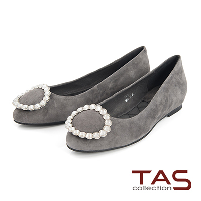 TAS水鑽大圓飾釦羊麂皮娃娃鞋-優雅灰