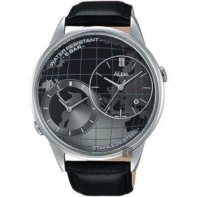 ALBA 街頭酷玩家二地時間限定腕錶(AZ9009X1)-灰x黑/45mm