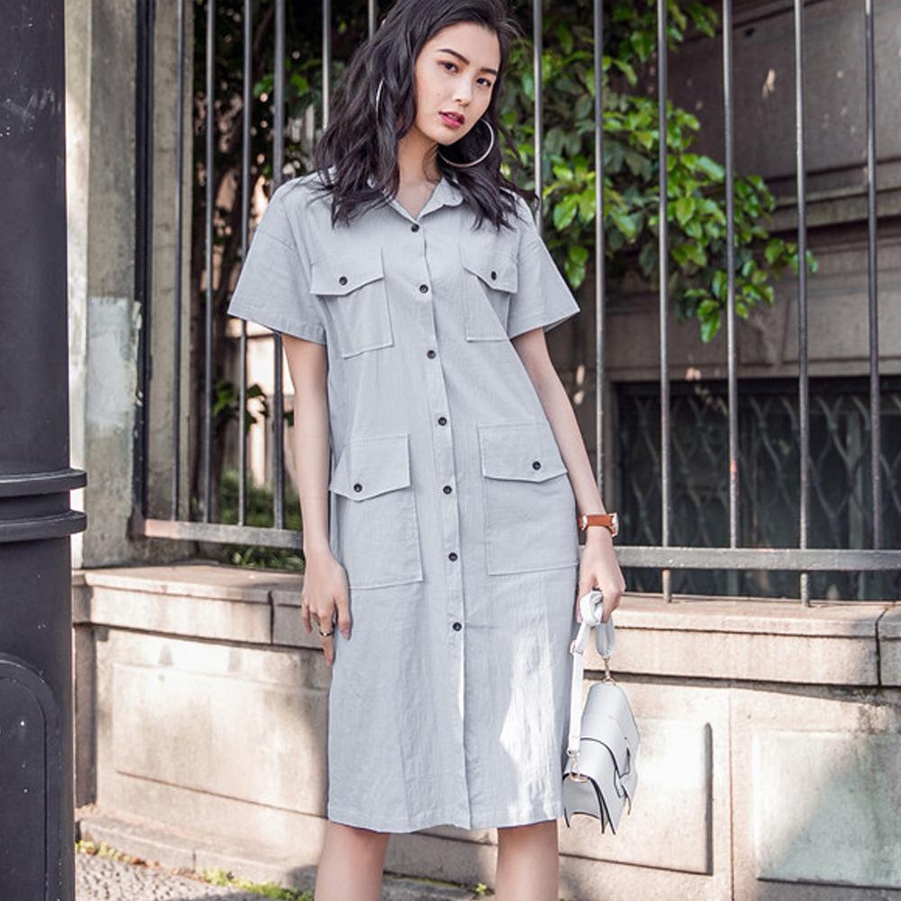 翻領多口袋排釦短袖洋裝 (灰色)-Kugi Girl