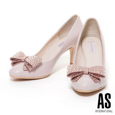高跟鞋 HELENE SPARK 典雅迷人鑲鑽蝴蝶結點綴全羊皮尖頭高跟鞋-粉
