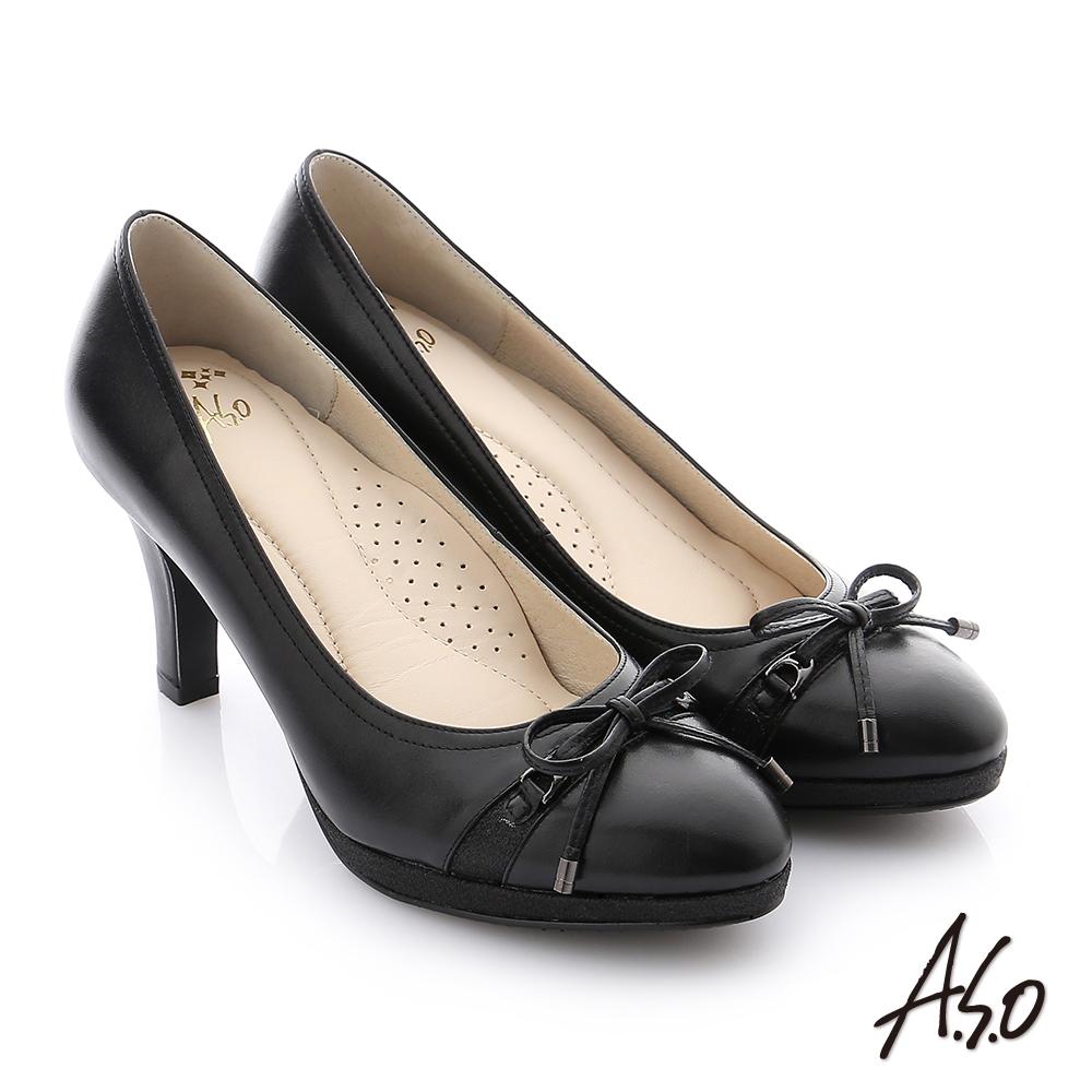 A.S.O 減壓美型 真皮蝴蝶結奈米高跟鞋 黑色