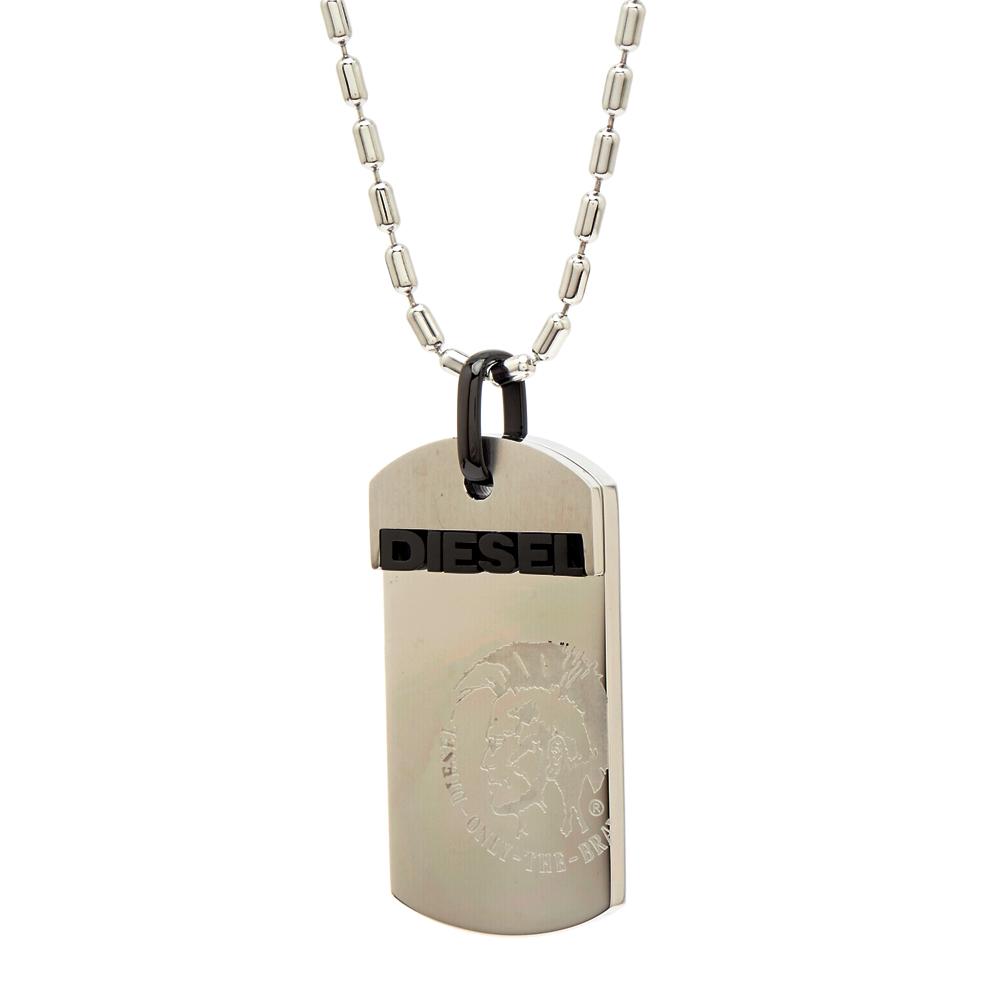 DIESEL 銀色街頭風朝款的軍牌項鍊(DX0007040)