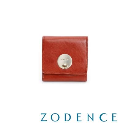ZODENCE-義大利植鞣革系列轉鎖短夾-橘紅