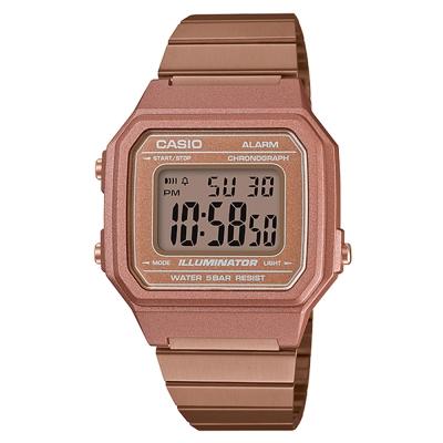 CASIO 復古文青風大型數字數位錶(B-650WC-5)玫瑰金色41.2mm