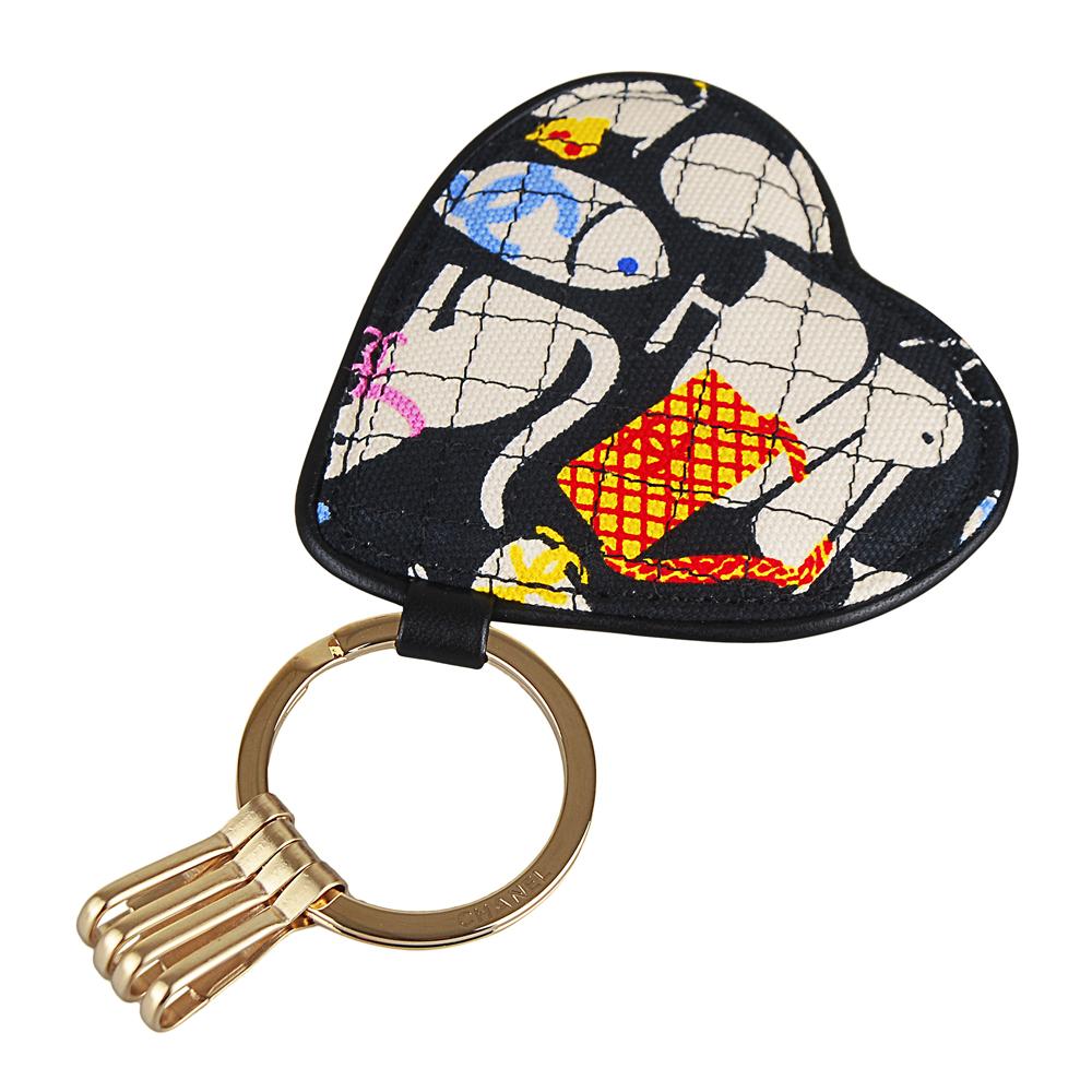 CHANEL 經典動物系列愛心帆布鑰匙圈(黑彩)