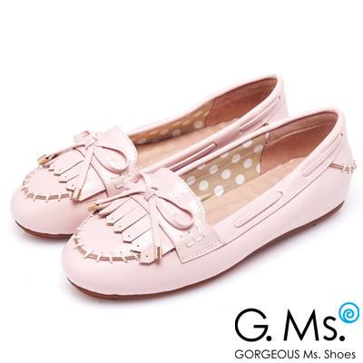G.Ms. 經典魅力-流蘇蝴蝶結羊皮莫卡辛豆豆鞋-粉草莓