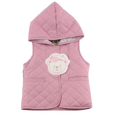 愛的世界-MYBABY-玫瑰小熊菱格連帽鋪棉背心-6-12歲