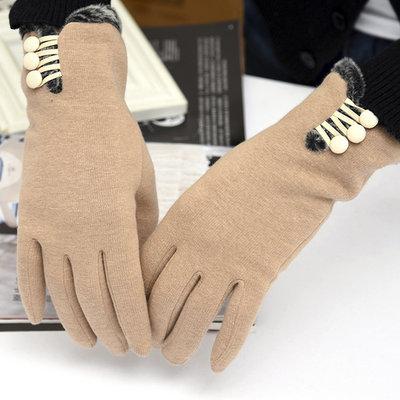 ACUBY-二指觸控鈕扣時尚手套-卡其