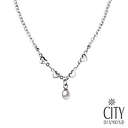 City Diamond引雅 【手作設計系列】天然珍珠滿滿愛心項鍊