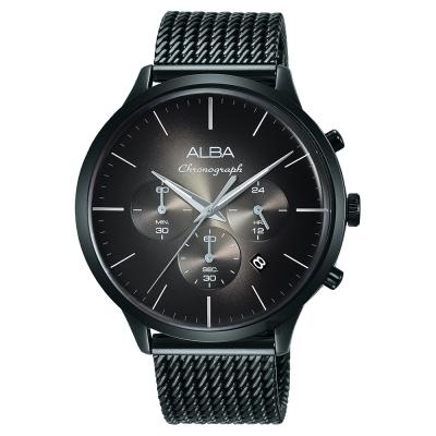 ALBA雅柏 ACTIVE 日系計時米蘭帶手錶(AT3B77X1)-灰x鍍黑/44mm