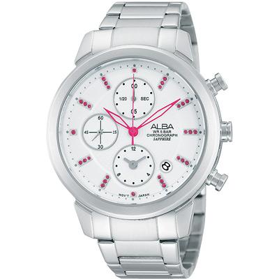 ALBA 夢幻旅程三眼計時晶鑽腕錶(AF8T13X1)-銀/38mm