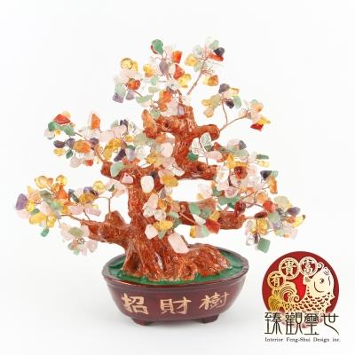 臻觀璽世 中型天然水晶 七彩色 發財樹/招財樹擺件