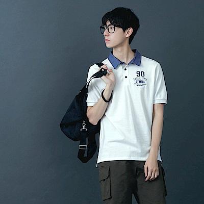 牛仔配色領字母刺繡造型短袖POLO衫.3色-OB大尺碼